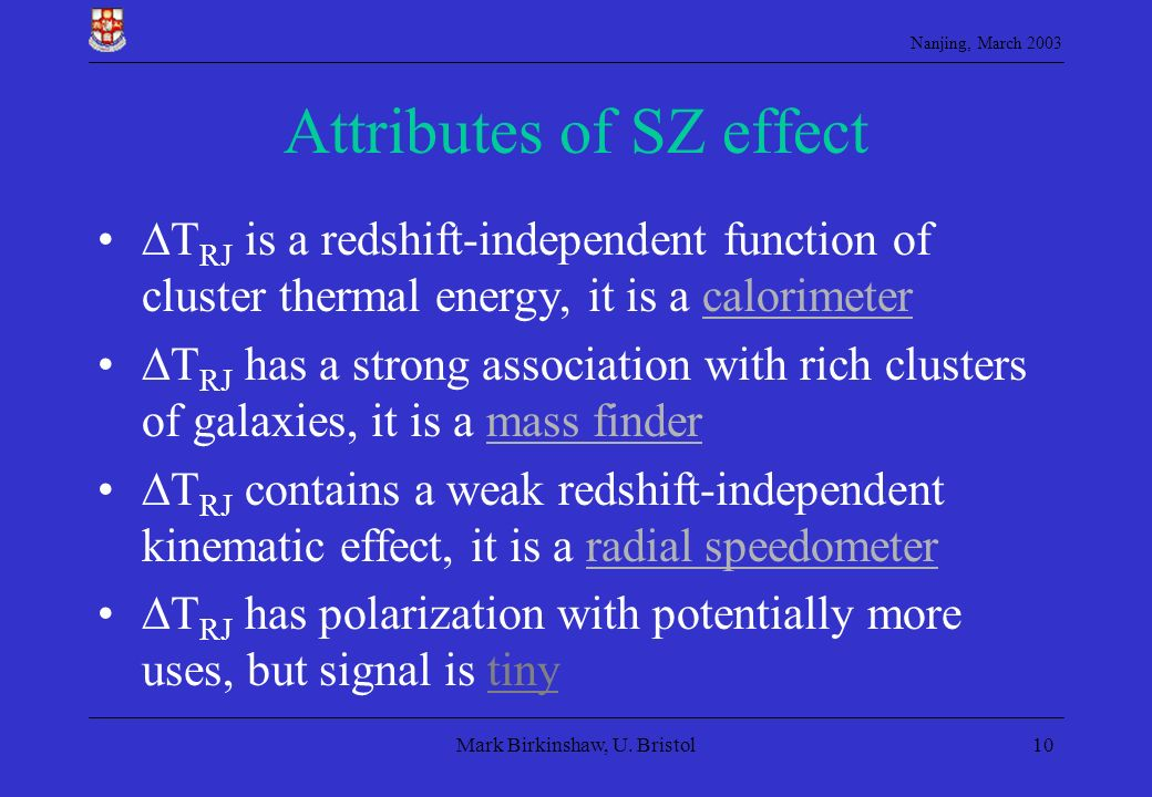 Attributes of SZ effect