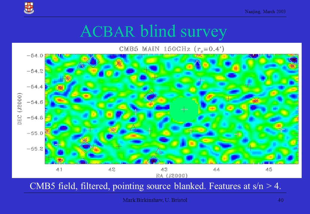 ACBAR blind survey Cold spots (diamonds), hot spots (crosses), radio sources (plus signs), and Abell clusters are marked.
