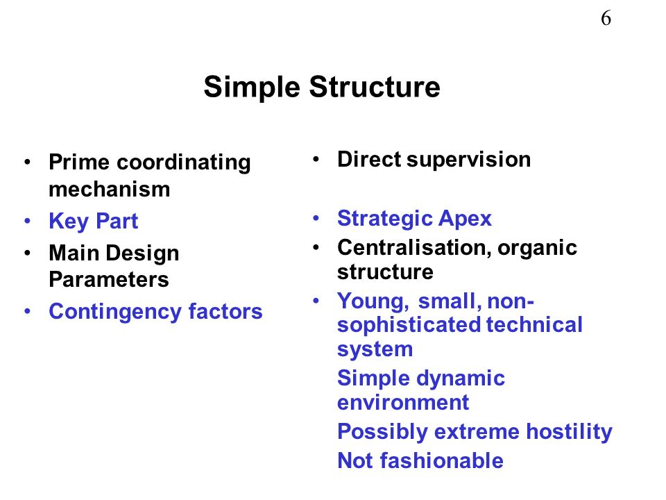 Simple Structure Prime coordinating mechanism Key Part