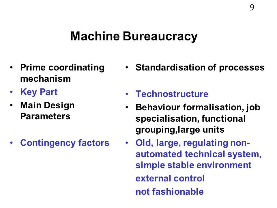 Machine Bureaucracy Prime coordinating mechanism Key Part