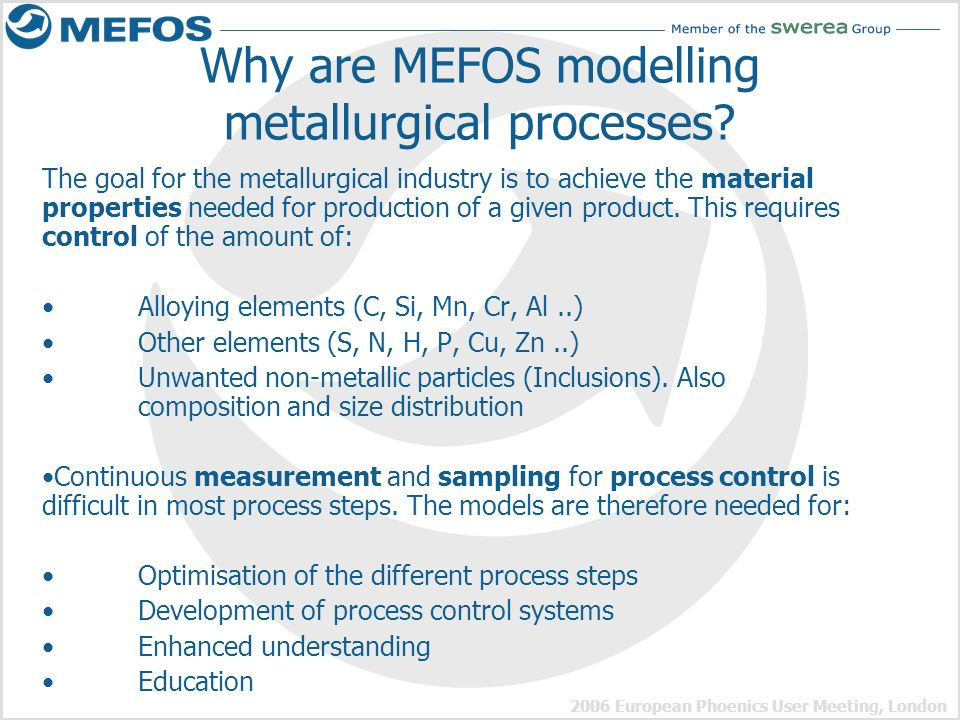 Why are MEFOS modelling metallurgical processes