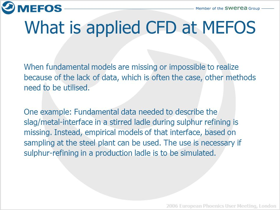 What is applied CFD at MEFOS