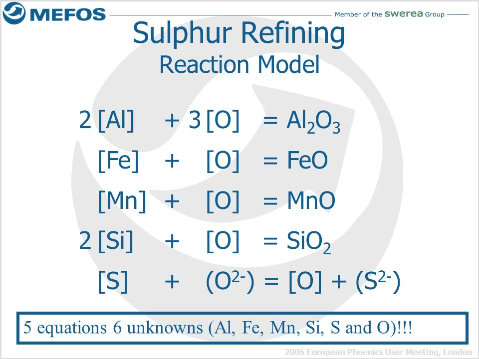 Sulphur Refining Reaction Model