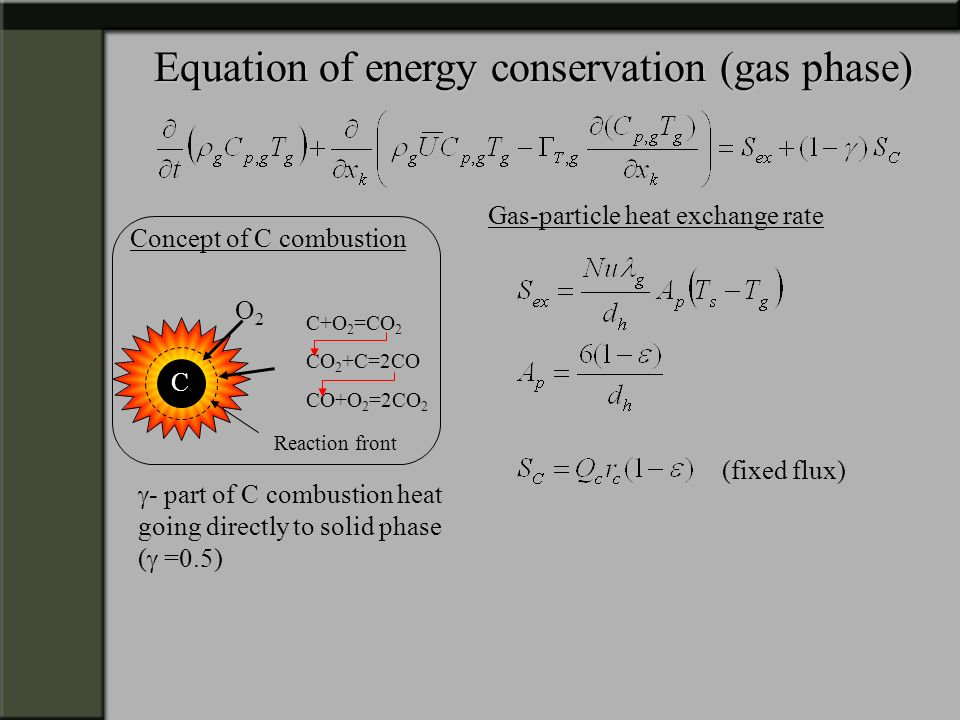 Equation of energy conservation (gas phase)