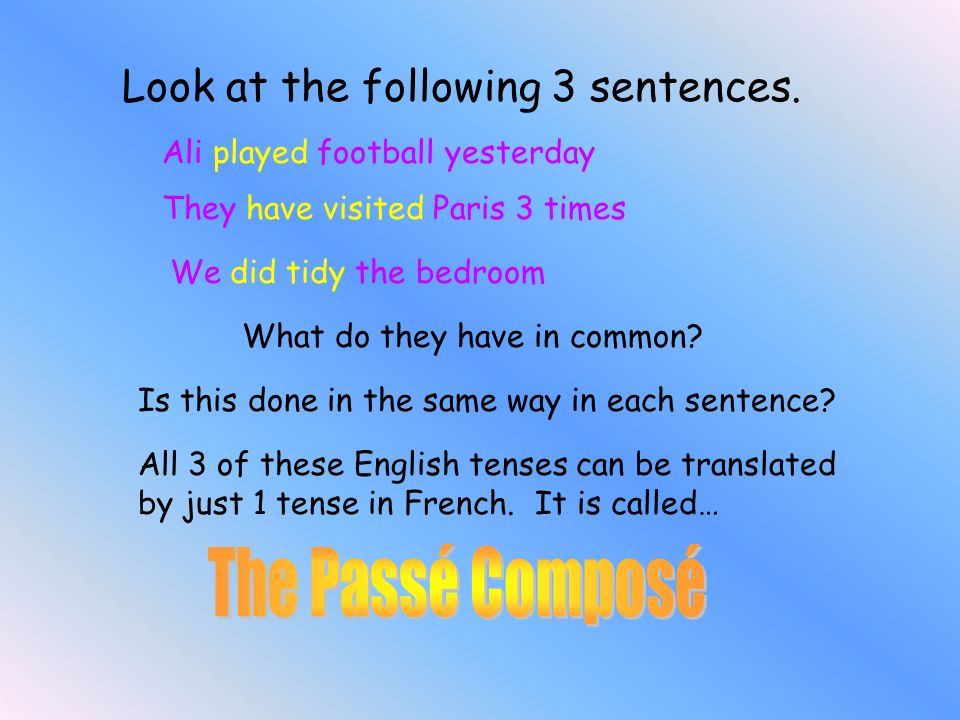 The Passé Composé Look at the following 3 sentences.