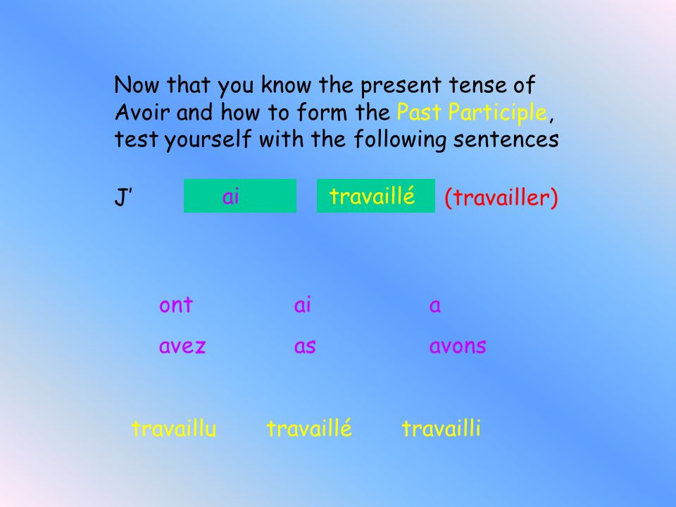 Now that you know the present tense of Avoir and how to form the Past Participle, test yourself with the following sentences
