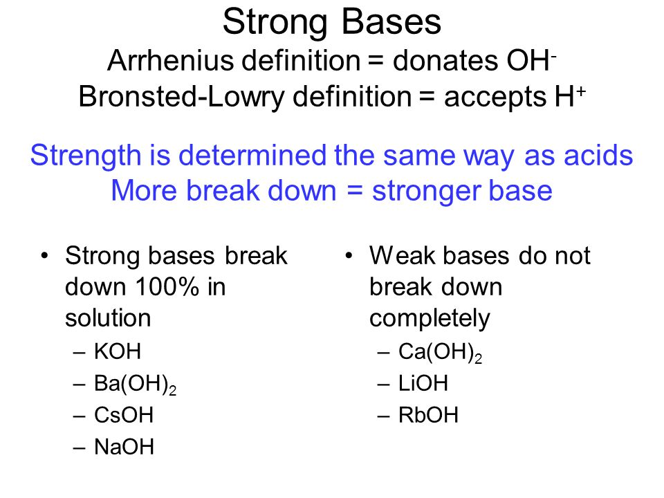 the definition of acids and an explanation of strong and weak acids Strong acids and strong bases dissociate completely into ions when in solution why are strong acids also strong electrolytes a: how do you define weak acid.