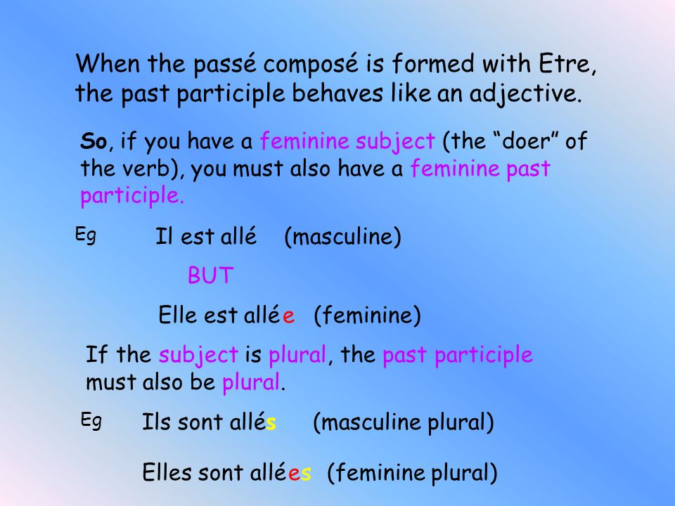 When the passé composé is formed with Etre, the past participle behaves like an adjective.