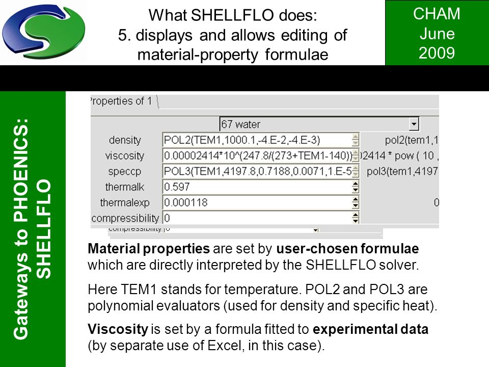 What SHELLFLO does: 5. displays and allows editing of material-property formulae
