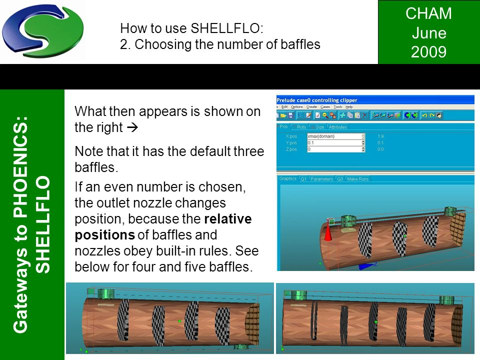 How to use SHELLFLO: 2. Choosing the number of baffles