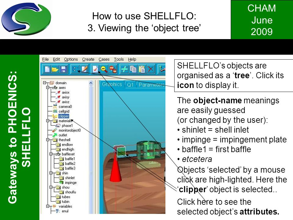 How to use SHELLFLO: 3. Viewing the 'object tree'