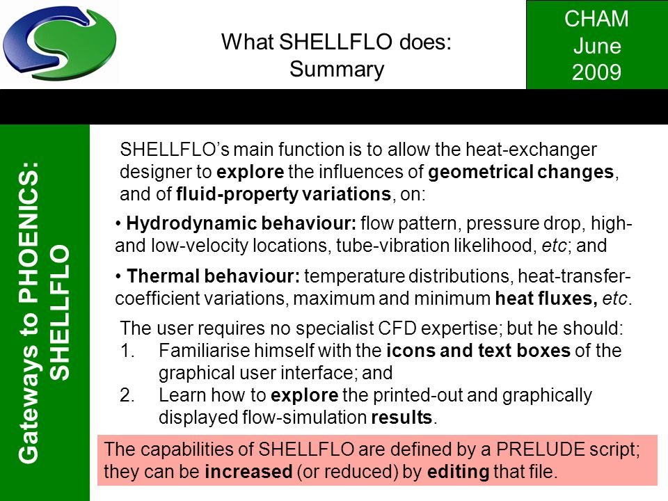 What SHELLFLO does: Summary