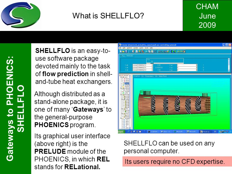 What is SHELLFLO . SHELLFLO is an easy-to-use software package devoted mainly to the task of flow prediction in shell-and-tube heat exchangers.