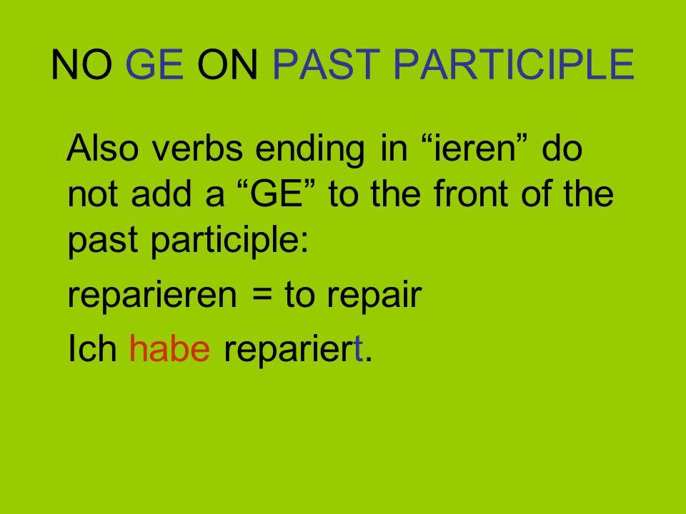 NO GE ON PAST PARTICIPLE