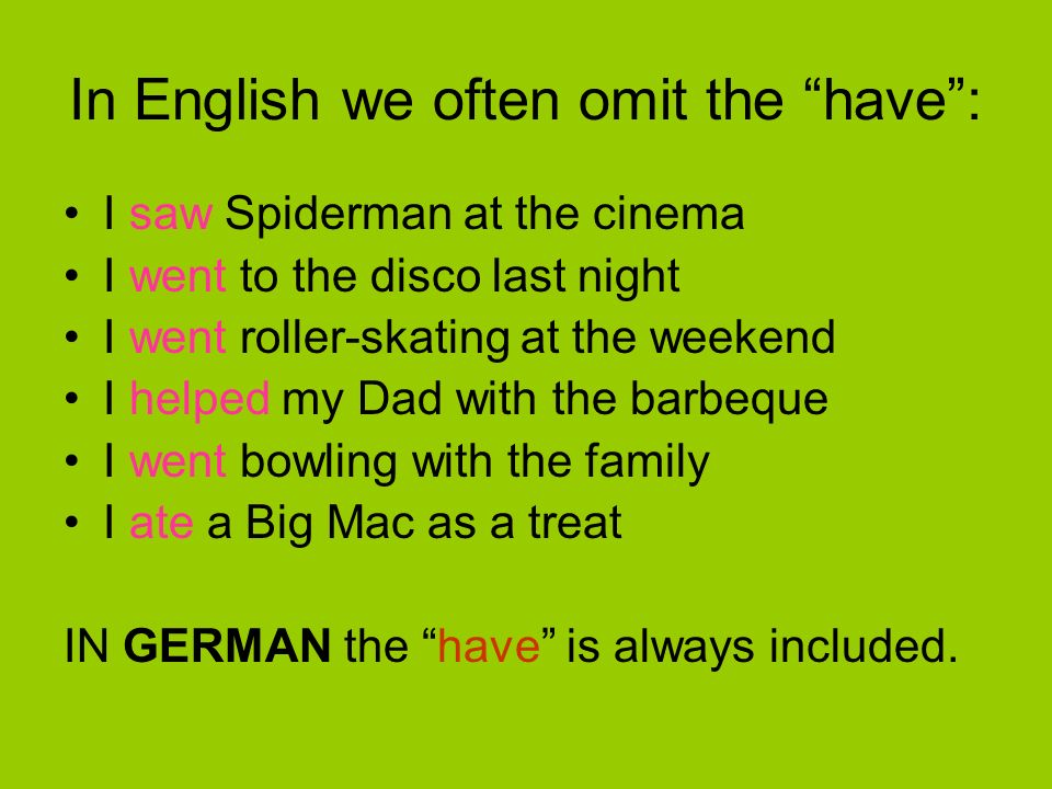In English we often omit the have :