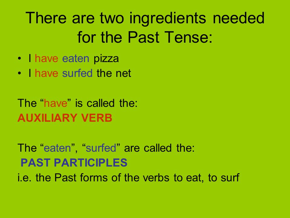 There are two ingredients needed for the Past Tense: