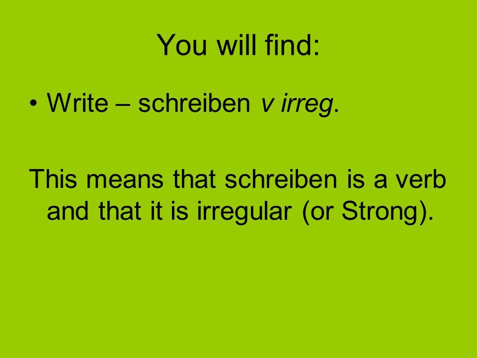 You will find: Write – schreiben v irreg.