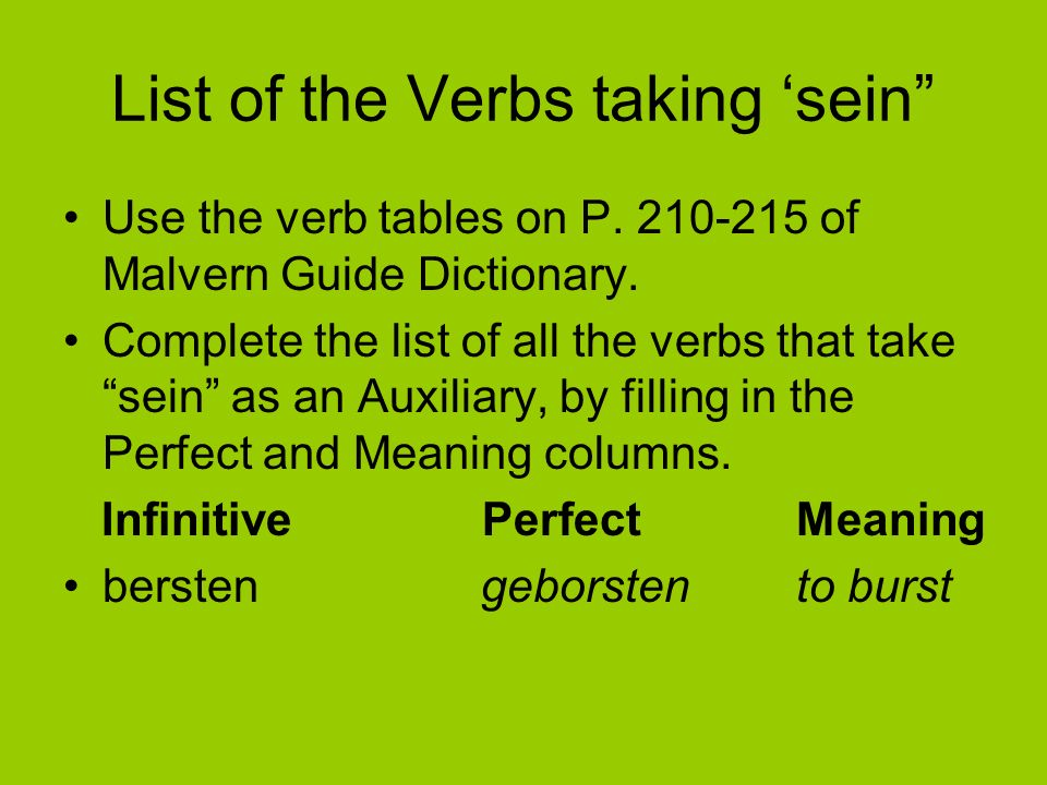 List of the Verbs taking 'sein