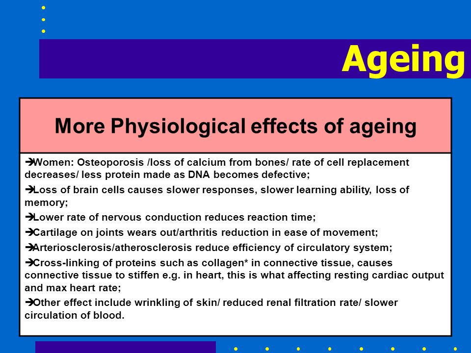 More Physiological effects of ageing