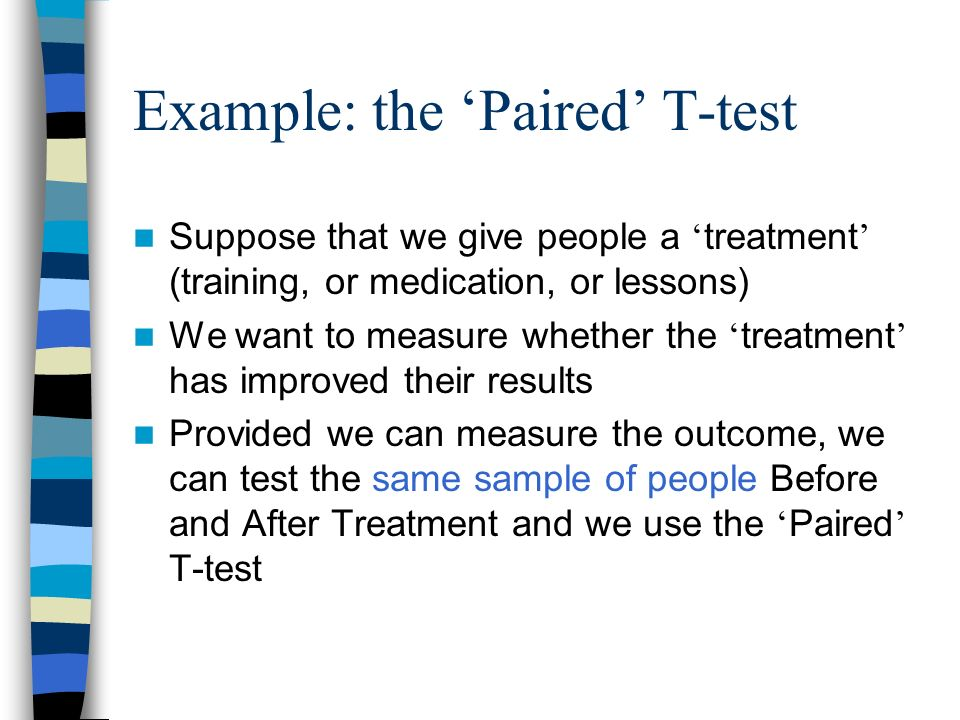 Example: the 'Paired' T-test