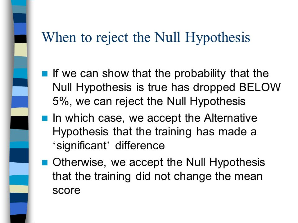 When to reject the Null Hypothesis