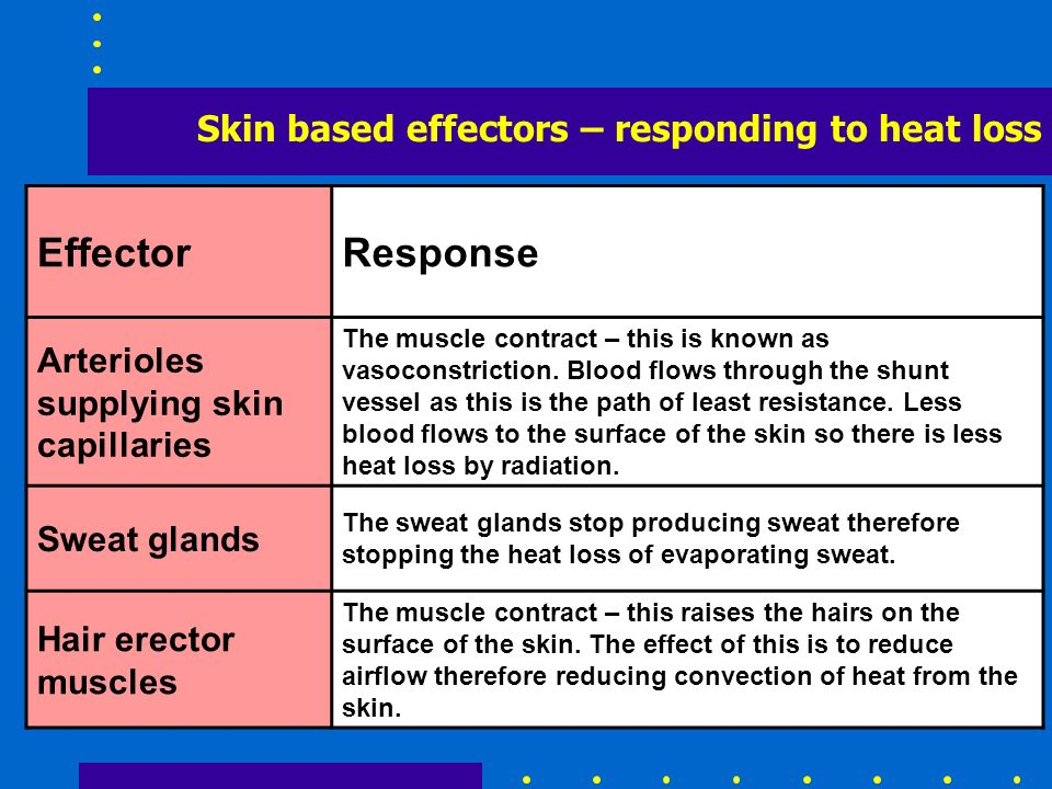 Effector Response Skin based effectors – responding to heat loss