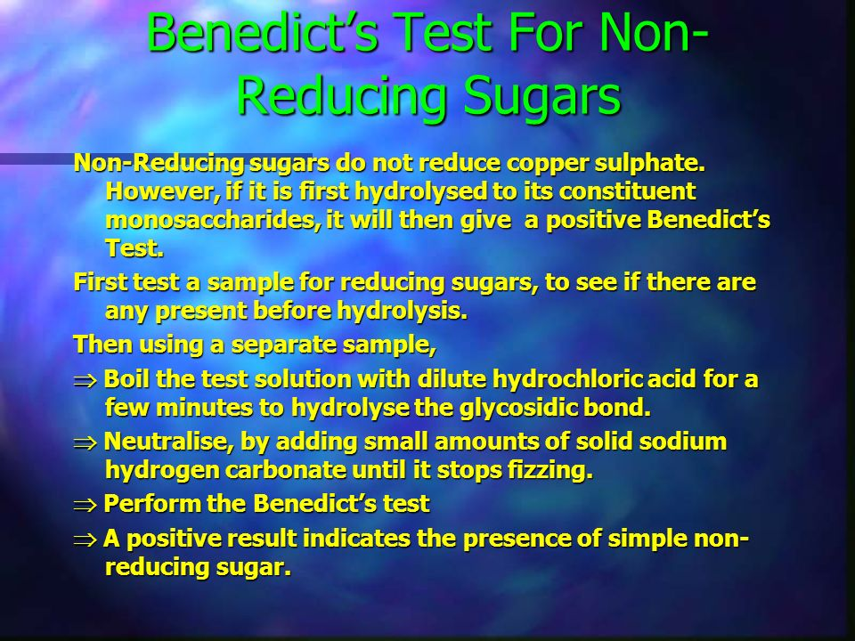 Benedict's Test For Non-Reducing Sugars