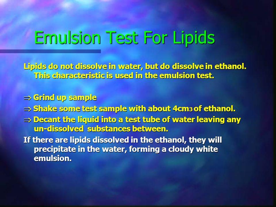 Emulsion Test For Lipids