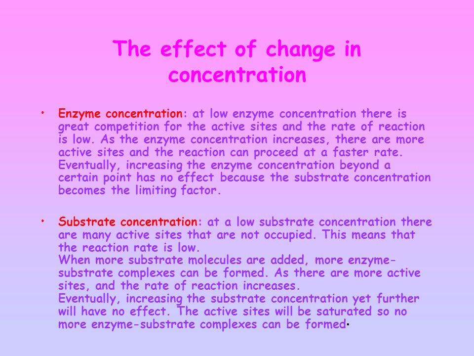The effect of change in concentration