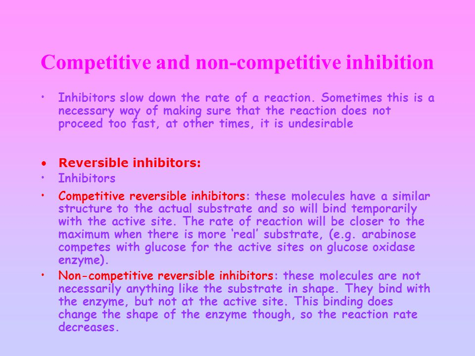 Competitive and non-competitive inhibition