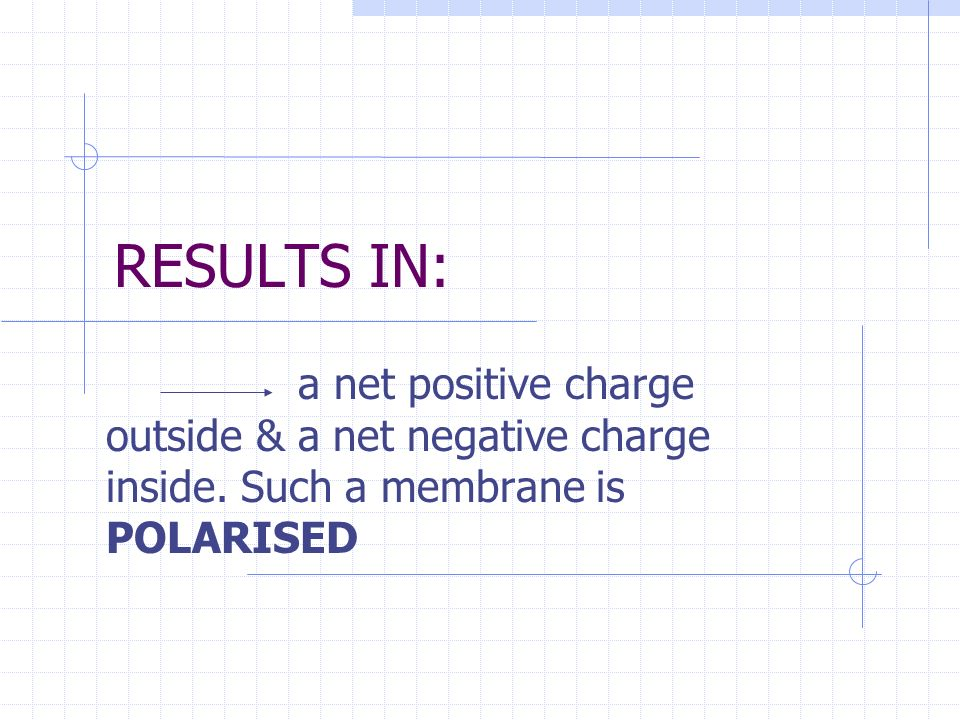 RESULTS IN: a net positive charge outside & a net negative charge inside.