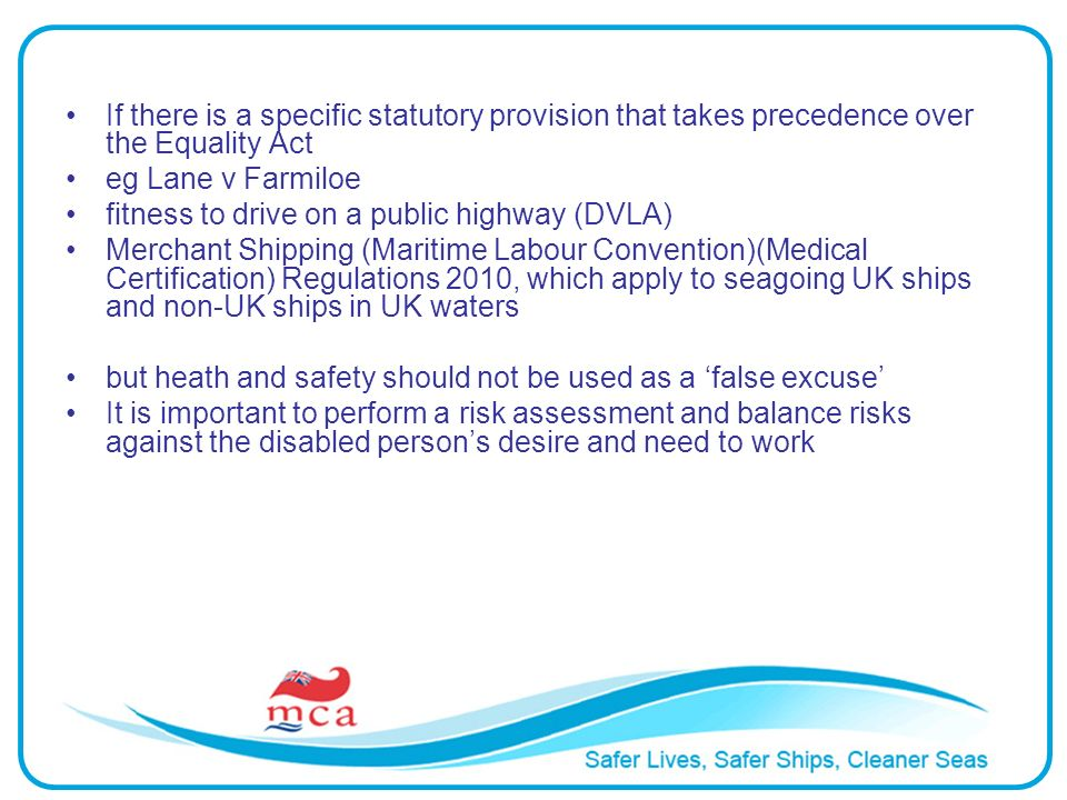 If there is a specific statutory provision that takes precedence over the Equality Act