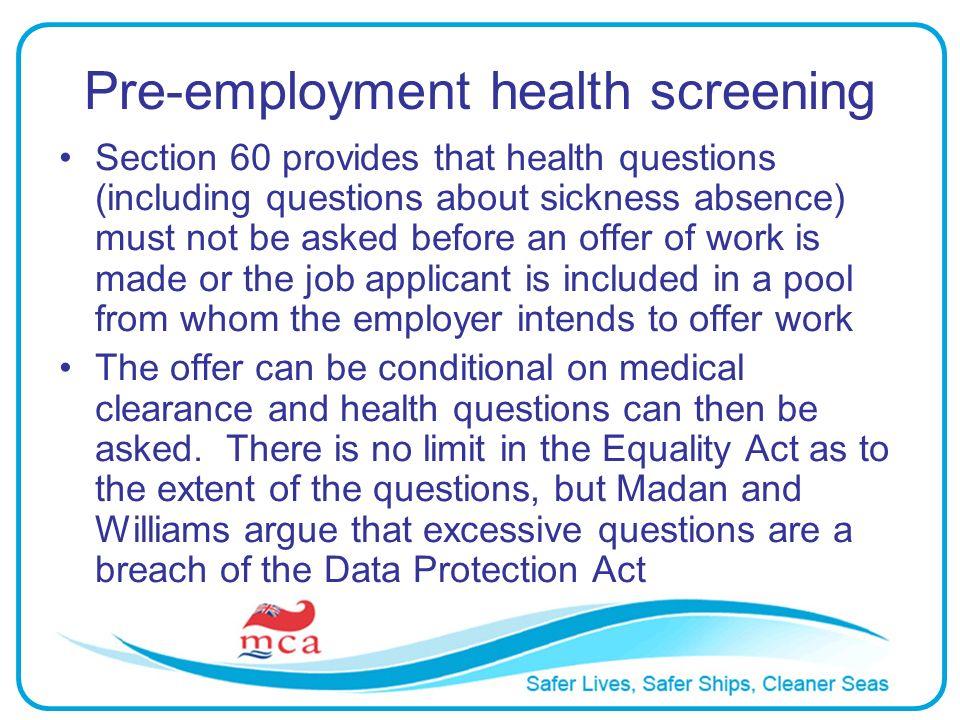 Pre-employment health screening