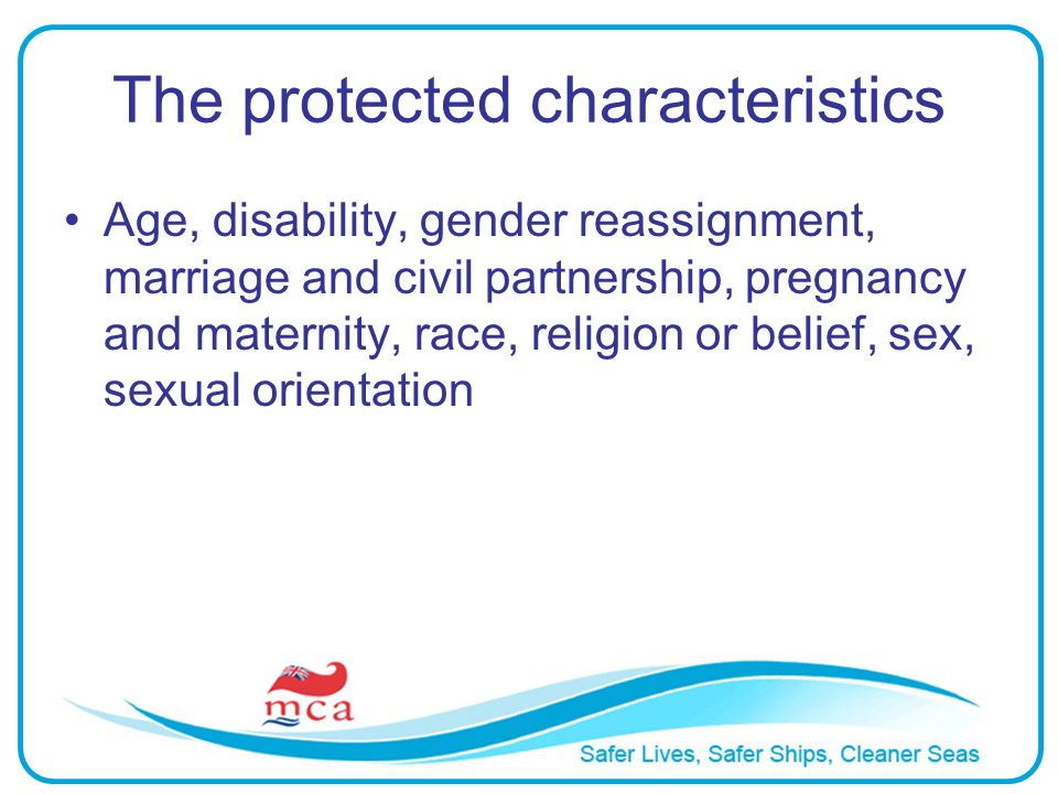 The protected characteristics