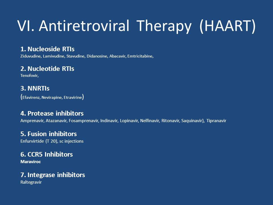 VI. Antiretroviral Therapy (HAART)