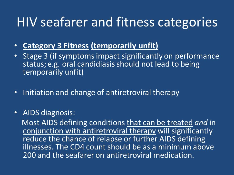 HIV seafarer and fitness categories