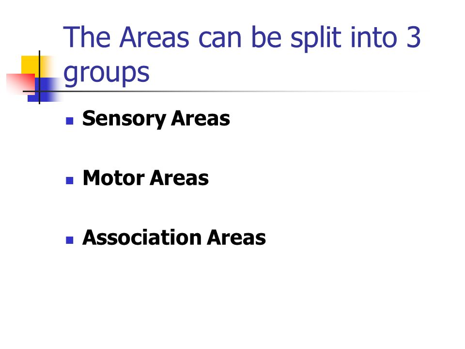 The Areas can be split into 3 groups