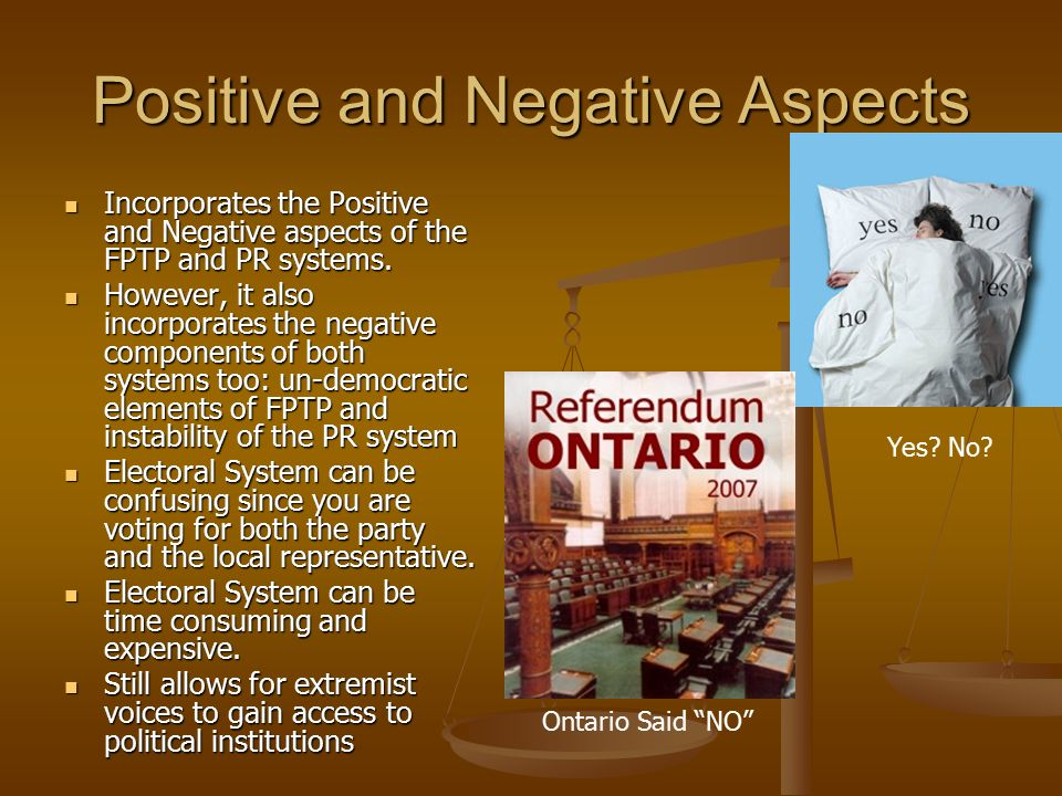 the positive and negative aspects of political parties A survey of less experienced eligible voters tests relationships among cynicism toward the political system, negativism toward campaigns, apathy toward political participation, third‐person perceptions for political polling and advertising, voting efficacy and voting intentions.
