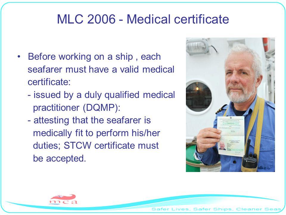 MLC 2006 - Medical certificate