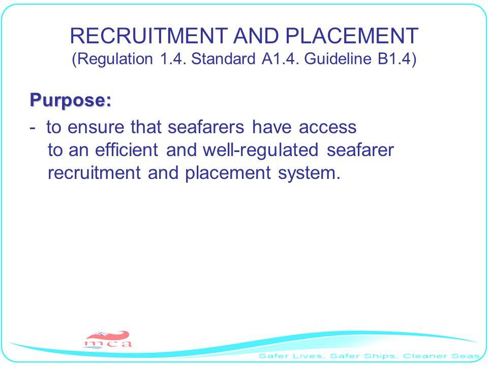 RECRUITMENT AND PLACEMENT (Regulation 1. 4. Standard A1. 4