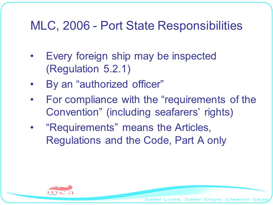 MLC, 2006 - Port State Responsibilities