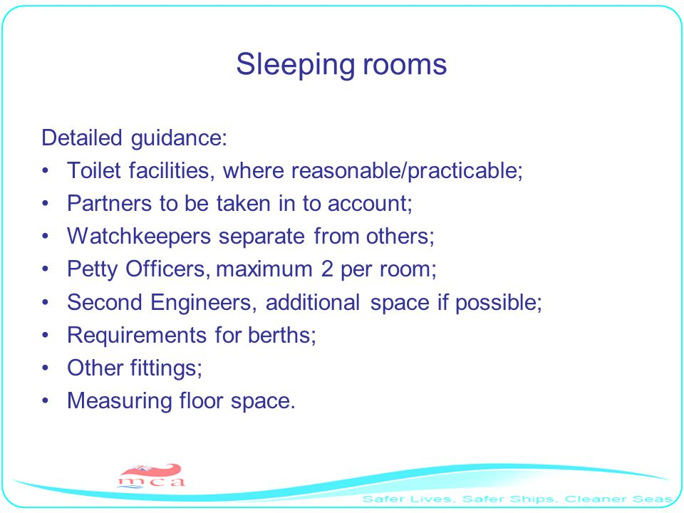 Sleeping rooms Detailed guidance: