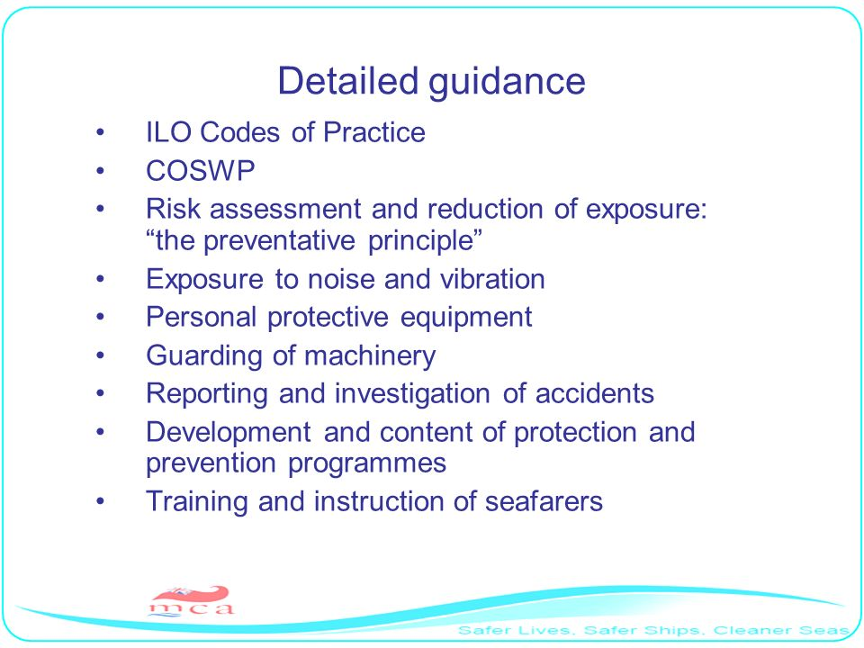 Detailed guidance ILO Codes of Practice COSWP