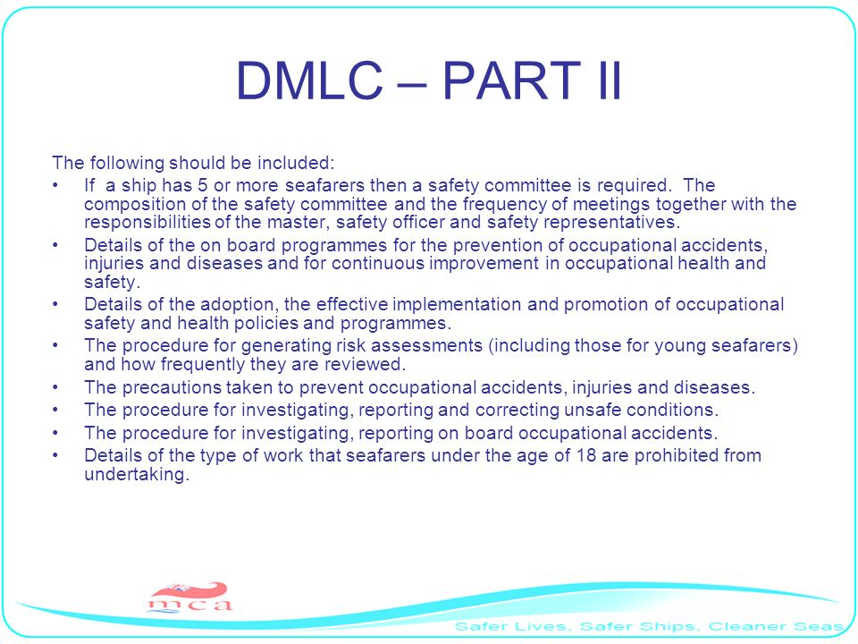 DMLC – PART II The following should be included: