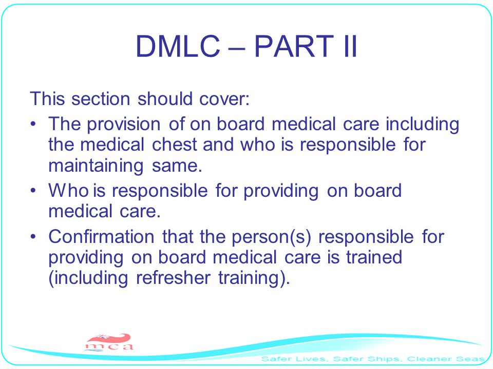 DMLC – PART II This section should cover:
