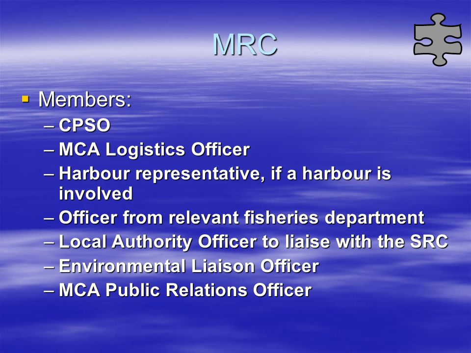 MRC Members: CPSO MCA Logistics Officer