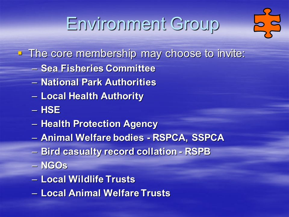 Environment Group The core membership may choose to invite:
