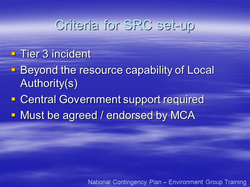 Criteria for SRC set-up