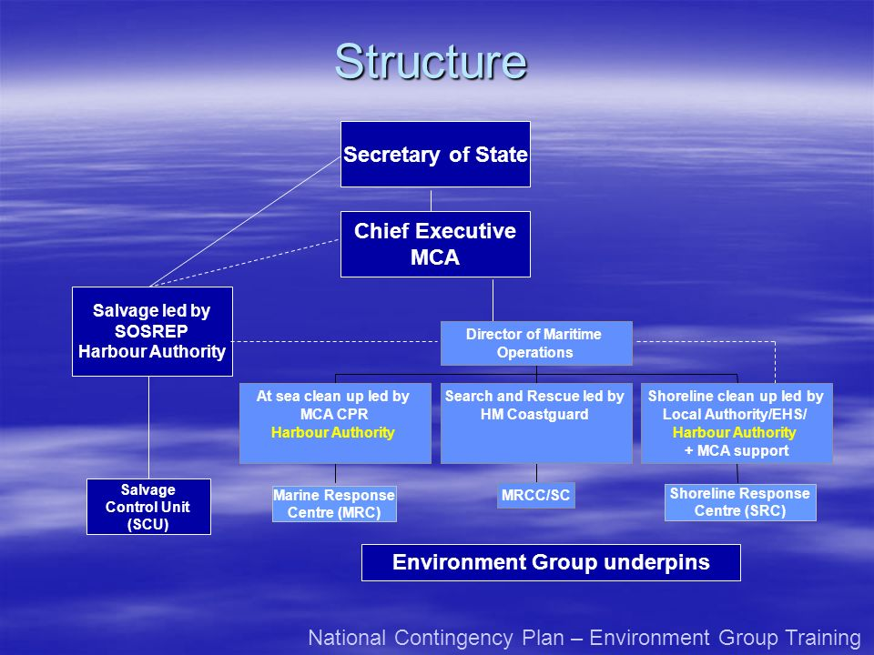 Structure Secretary of State Chief Executive MCA
