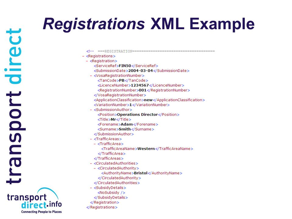 Registrations XML Example
